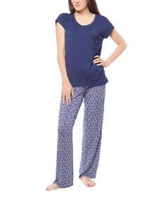 Medieval Blue Geometric Pajama Set