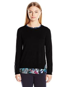 Women's Petite Mixed Media Scoop Neck Two-Fer Sweater