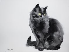 Black cat original watercolor painting by bodorka on Etsy