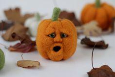 Mini Needle Felted Orange Wool Jack-O-Lantern Pumpkin Fall Felt with Face OOAK