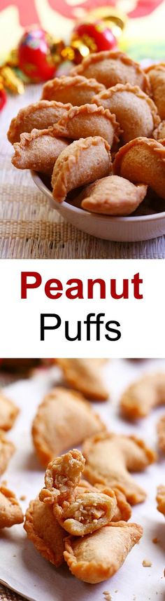 Peanut Puffs - sweet ground peanut wrapped with crispy pastry shell. Deep-fried to golden brown, so addictive and yummy | rasamalaysia.com