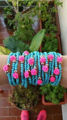 Light blue  friendship bracelet  layered bracelets  by TresJoliePT