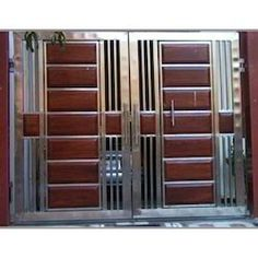 Swing Stainless Steel Wooden Gate, For Home, Sri Devi Engineering Work Gate Wall Design, Home Gate Design, Grill Gate Design, House Main Gates Design, Door Design Interior, House Design, Metal Gates, Wooden Gates, Metal Doors
