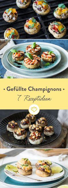 Gefüllte Champignons sind unglaublich vielseitig. Ob mit Fleisch, Meeresfrüchten, vegetarisch oder vegan - bei diesen 7 Rezeptideen ist für jeden was dabei.