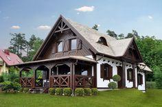 Dworek Kaszubski Mały II - Domy drewniane SENDOM Small Cottage Homes, Cottage Style Homes, Rustic Houses Exterior, Dream House Exterior, Village House Design, Village Houses, Old Country Houses, Forest House, Log Homes