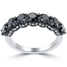 2.75 Carat Black & White Diamond Wedding Band Ring Micro Pave 18k White Gold - Wedding Bands - Wedding Bands