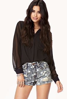 Star Print Destroyed Denim Shorts | FOREVER21 - 2041841655