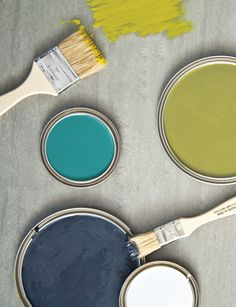 From left to right Grand Canal (Sherwin-Williams) (Benjamin Moore)Hale Navy (Benjamin Moore) Newt Green