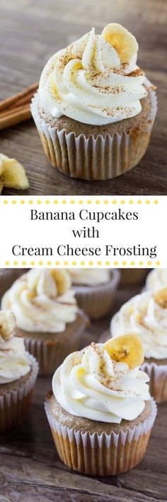 Banana Cupcakes with Cream Cheese Frosting. Light, fluffy, super moist with a classic banana flavor and topped with cream cheese frosting -this recipe is banana cupcakes are perfection