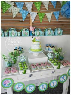 Dessert table at a George Pig birthday party! See more party ideas at… Cumple George Pig, Peppa E George, George Pig Party, George Pig Cake, Third Birthday, 3rd Birthday Parties, Birthday Ideas, Pig Birthday Cakes, First Birthdays