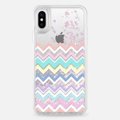 Casetify iPhone X Liquid Glitter Case - Multicolor Pastel Chevron Transparent by Organic Saturation Girly Phone Cases, Diy Phone Case, Iphone Phone Cases, Phone Covers, Phone 4, Phone Background Patterns, Accesorios Casual, Iphone Accessories, Casetify