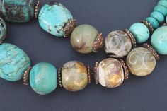 Turquoise, artisan ceramic, lampwork and bronze necklace / One of a kind / Rustic Tribal Artisan Boho / 'Turquoise and gold'