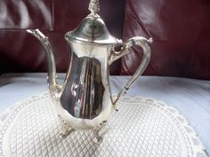 Silver plated,  coffee pot, English silver plate, Viners silver plate, Splayed feet, figured handle, figured spout, silver plate tableware by MaddisonsRainbow on Etsy