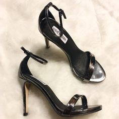 🔱 LAST CHANCE ‼️ NEW! Steve Madden Stecy Heels 🎉 Lowest price unless bundled! 🎉 Never worn outside! Shiny pewter color with ankle strap and cushioned insole. Heel height is 3.75 inches. 💋 Happy Poshing! (x trade) Steve Madden Shoes Heels