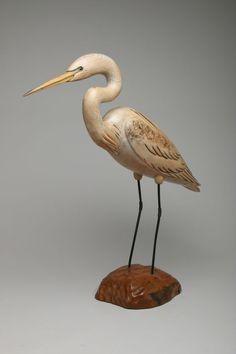 $430 Vintage Rare Tom Taber Wood Carving EGRET Hand Carved Painted Bird Decoy