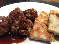 Asian meatballs and scallion pancakes