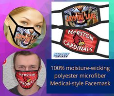 Get 2-ply Face Mask with microfiber polyester front and back. Elastic ear loops and seams to hold tight and maintain comfort. Washable. Includes your custom full-color imprint on one side. Order these best quality designer face masks, tubular bandana and spirit bandanas from Pro-Tuff Decals. #facemasks #customfacemasks #designerfacemasks #customdesignfacemasks Personal Fitness, 2 Ply, Bandanas, Face Masks, Custom Design, Decals, Spirit, Ear, Color