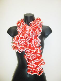 Fashion Knitting Ruffle infinity Scarf READY TO by PIPPADUSHES, $25.00