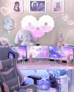Gamer Setup, Gaming Room Setup, Pc Setup, Gaming Rooms, Cute Room Decor, Kawaii Bedroom, Game Room Design, Gamer Room, Gameroom Ideas