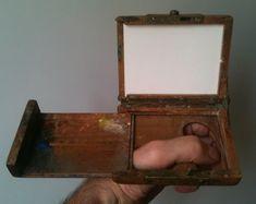 """Dalla mia collezione, scatola da """"impressionista"""", primo '900, in faggio."""