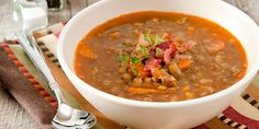 This hearty lentil soup will keep you warm on winter nights. It's a good source of vegetarian protein and has only 179 calories per serving. Get the recipe.