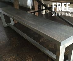 Reclaimed Wood Bench with Wood Legs | Industrial Decor | Free Shipping
