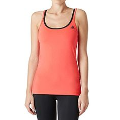 adidas Damen T-Shirt Basic Strappy, Rot Schwarz, M, 4055343993607
