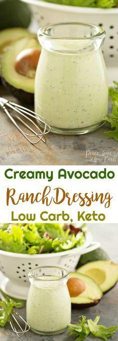 Keto Creamy Avocado Ranch Dressing | Peace Love and Low Carb #keto #ketoranch #avocadoranch #lowcarb