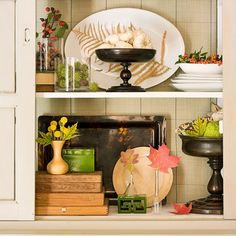 Spice up your hutch with Fall Decorations  #FallColors #Fall #Color #Home #Hutch #Design #cabinets #homedecor #room