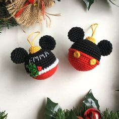Disney bauble ball Mickey Mouse Christmas ball Crochet Mickey Knitted Christmas Gift Disney Minnie Mouse Ball Ornament Bauble Decoration - Amigurumi toys and patterns Crochet Christmas Decorations, Crochet Christmas Ornaments, Christmas Crochet Patterns, Holiday Crochet, Christmas Knitting, Christmas Baubles, Crochet Gifts, Christmas Crafts, Christmas Tree