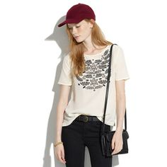 Madewell silk ivy embroidered tee. would be amazing with leggings or a high waist skirt