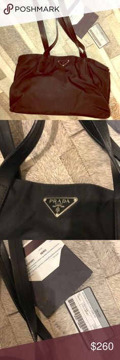0597ea813398 authentic black Prada nylon bag with card Adorable everyday vintage Prada  bag with card and tag Prada Bags Hobos