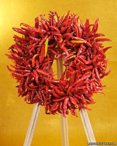Chile-Pepper Wreath - Beat the heat -- by putting it on your front door. Be careful when you work with dried hot chile peppers; the juice will sting your hands if you come into contact with it.