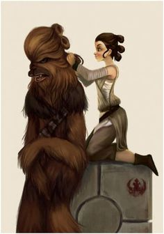 Rey doing Chewie's hair! Lol!