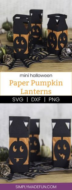 Paper Pumpkin Lanterns - I love lanterns but I hate spending money on them at the store so I decided to make my own mini Halloween paper lanterns instead. They're an easy DIY, cheap, and family friendly. And can be made with a Silhouette or Cricut machine