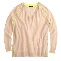 🍾SALE J. Crew Light Spring V-neck Sweater XS J. Crew 100% Merino Wool V-neck Sweater x-small Beige with electric yellow stripes. Like new! Perfect for the current season!! I ship same-day from pet/smoke-free home. Enjoy :) J. Crew Tops Tees - Long Sleeve