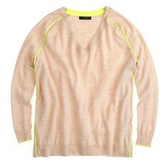 SALEJ. Crew 100% Merino Wool V-neck Sweater XS J. Crew 100% Merino Wool V-neck Sweater x-small Beige with electric yellow stripes. Like new! Perfect for the current season!! I ship same-day from pet/smoke-free home. Enjoy :) J. Crew Sweaters V-Necks