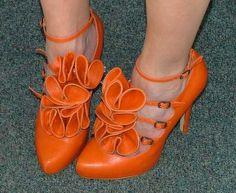 Orange flower shoes
