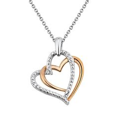 Two Hearts Forever One Diamond Accent 10k Rose Gold Over Silver and Sterling Silver Heart Pendant Necklace, Women's, White