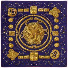 """Auth Hermes Paris """"ORS NOMADES"""" Vintage Silk Scarf ANNIE FAIVRE 90cm #Hermes #ShawlWrap"""