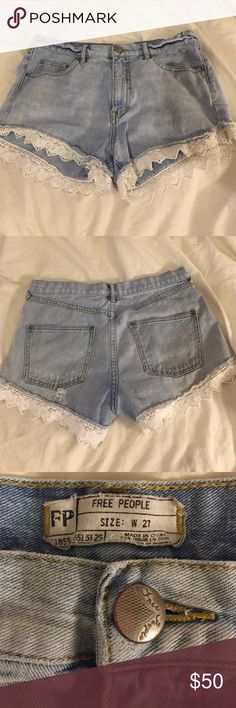 FP high waisted jean shorts High waisted Jean shorts, sit right at the belly button on me (I'm 5'3). White lace surrounding the bottom. Measurements the same as my other FP listing! Free People Shorts Jean Shorts