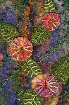The background was created on the embellisher using wool roving, novelty yarn and scraps from a painted dryer sheet – encased in fine tulle. Wool Embroidery, Wool Applique, Embroidery Applique, Embroidery Stitches, Embroidery Patterns, Crazy Quilt Stitches, Crazy Quilting, Crazy Patchwork, Quilt Stitching