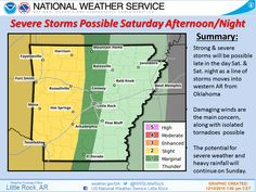 """says For The Little Rock Metro & Central Arkansas Tonight Thru Friday Night: Cloudy. Lo 58 & Hi 74. Lo Friday Night 62. Saturday:  Scattered Showers & Thunderstorms. Hi 74. Saturday Night & Sunday..Showers & Thunderstorms.. A Few Strong To Severe With Locally Heavy Rain Amounts Of 2-3"""" Possible. Showers & Thunderstorms Ending Sunday Night. Hi Sat 73 & Lo 59. Hi Sun 65 & Lo 41. Monday Thru Tuesday: Partly Cloudy & Mild..Hi Monday 59 & Lo 43. Hi Tuesday 62. - http://www.weather4ar.org…"""