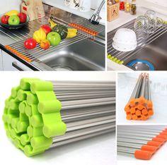 Stainless Steel Shelf Sink Rack /Portable Folding / Sink Rack Roll/ Green,Orange