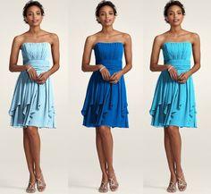 Great idea for bridesmaid dresses. Same dress, monochromatic color scheme!