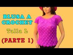 Blusa tejida a crochet en punto Hojas en Relieves talla L para damas paso a paso - Parte 1 - YouTube