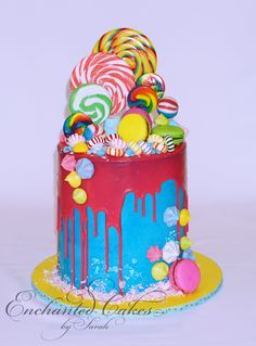 A colourful, lolly-loaded cake that thrilled Isla and Oliver at their joint birthday celebration.