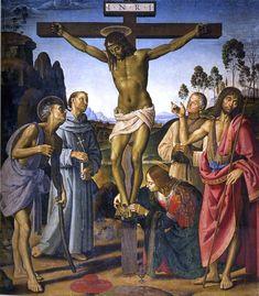 IL PERUGINO e Luca Signorelli - Crocifissione - olio su tavola -  1483-1495 circa - Galleria degli   Uffizi, Firenze