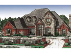 Eplans French Country House Plan - French Country Home - 3586 Square Feet and 4 Bedrooms from Eplans - House Plan Code HWEPL04105