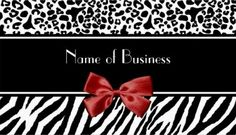 Trendy Black And White Leopard Zebra Red Ribbon Business Card - $21.95 A trendy black and white animal print business card with modern zebra stripes and leopard pattern embellished with a girly read ribbon tied into a bow. Personalize these fashion business cards by adding the name of your new business.